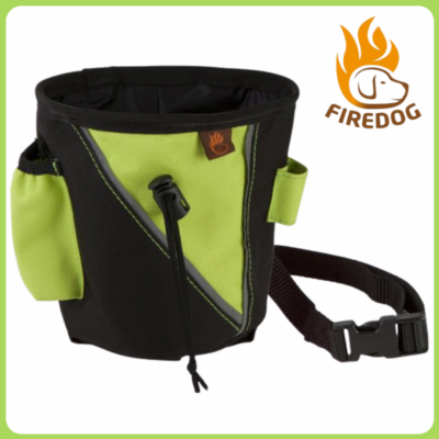 Firedog jutalomfalat tartó övvel fekete-neon zöld (kicsi)