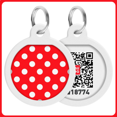 Smart ID biléta nyakörvre - Piros pöttyes